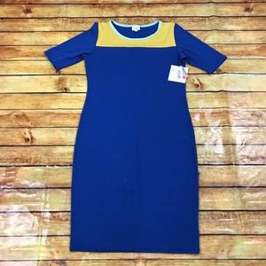NWT Lularoe Color Block Julia Dress Blue / Yellow